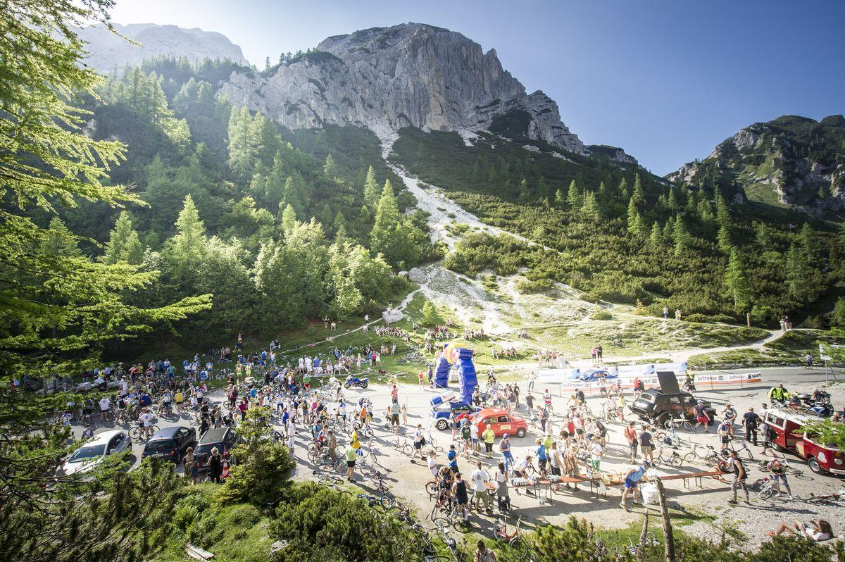 Overview of the finish area during Red Bull Goni Pony in Kranjska Gora, Slovenia on June 6th, 2015