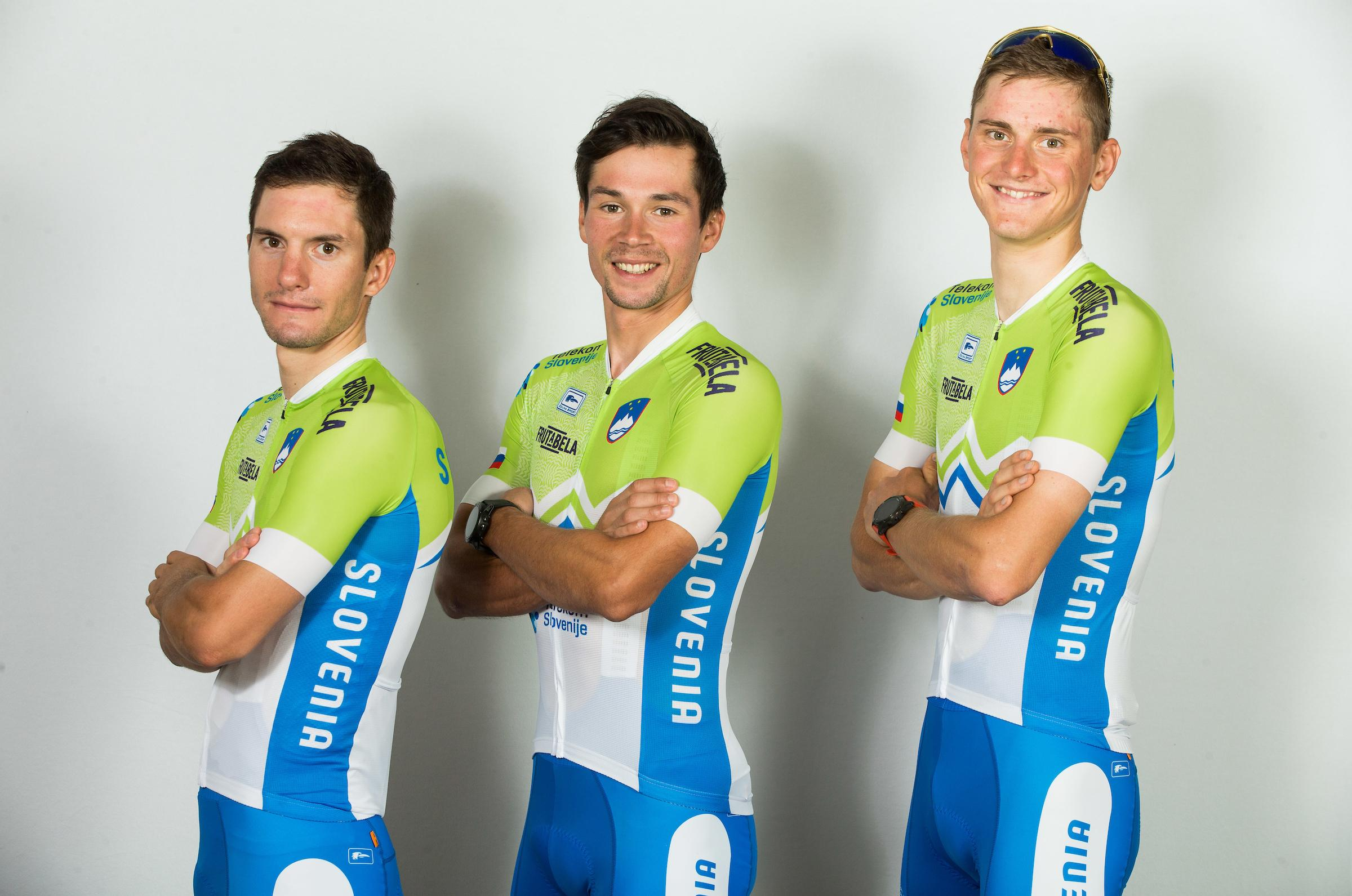 Jan Polanc, Primoz Roglic and Matej Mohoric during photo session of Slovenian Cycling Team for 2018 UCI Road World Championships Innsbruck, on September 17, in Spodnji Brnik, Slovenia. Photo by Vid Ponikvar / Sportida